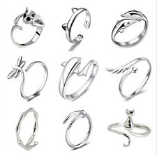 Cat Knuckle Dolphin Open Ring 925 Silver Filled Adjustable Rings Women Jewelry