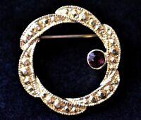 VTG Marcasite Circle Wreath Brooch Rhinestone Coat Sweater Pin Costume Jewelry
