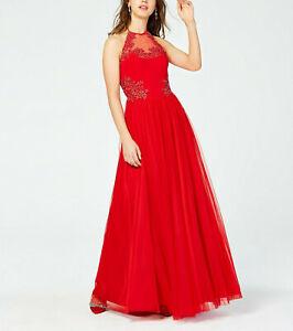 Blondie Nites Juniors' Appliqué Floral Halter Gown $239 Size 7 # 3B 1015 Blm