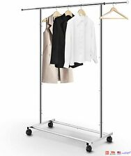 Heavy Duty Commercial Garment Rack Rolling Collapsible Clothing Shelf Chrome
