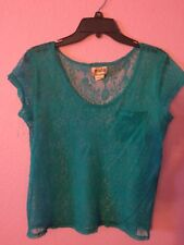 Mudd Teal/green Cut Out Short Sleeve T-shirt Juniors Size XL