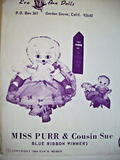 1960's Miss Purr Cousin Sue Cat kitten rag doll pattern unused
