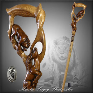 Lion Impala Wooden Hand Carved Walking Stcik Cane Ergonomic Handle for men women