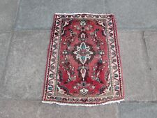 Vintage Traditional Hand Made Oriental Red Pink Wool Small Rug 81x60cm
