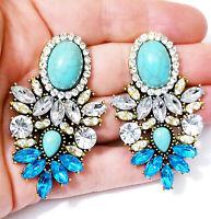 Chandelier Earrings Rhinestone Austrian Crystal 2.3 in Aqua