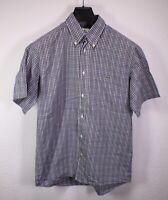 HB257 Lacoste Herren Hemd Shirt blau grau weiß kariert Gr. M/39 Kurzarm regular