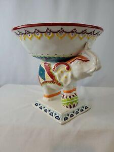 "Pier1 Elephant Pedestal Bowl - 8.5"" x 9.25"" - EUC - Colorful & Free Ship"