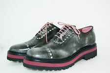 WOMAN-38eu- OXFORD-FRANCESINA-BRUSHED CALF- PELLE SPAZZOLATA-RUBBER SOLE
