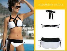 Eleganter Bandeau Bikini  Gr.46 < Weiß/Schwarz > B-WARE !!
