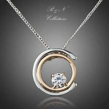 Classic Platinum Plated Made W/SWAROVSKI White Crystal Pendant Necklace N262-18