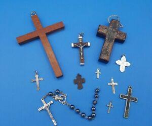 JOB LOT x 11 CHRISTIAN CROSSES / CRUCIFIXES - WOOD & METAL
