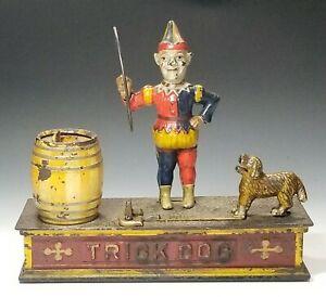 1888 Shepard TRICK DOG~6 PART BASE Mechanical BANK in Very Fine ORIGINAL PAINT