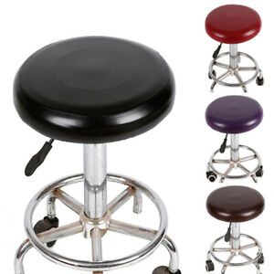 Cover Bar Stool Replace Chair Cover Round Elastic PU Leather Seat CoverProtector