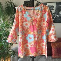 GARNET HILL sz 4 Orange Pink Yellow Blue Floral Linen Embroidered Tunic Top