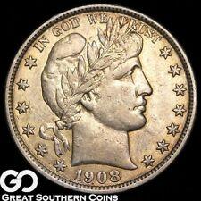 1908-O Barber Half Dollar, Choice AU++ Silver Half, ** Free Shipping!