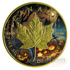 HALLOWEEN - JACK-O-LANTERN 2016 1 oz $5 Fine Silver Maple Leaf Coin - Color 24K