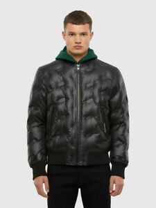 Diesel Jeans  Mens W-ON-THERMO Logo-quilted down bomber jacket  Ship World