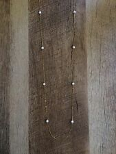 Nadri, Long Dainty Faux Pearl Station Necklace, Gold Chain