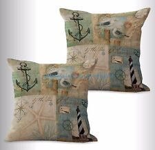 US SELLER-2pcs cheap throw pillow sets nautical light house anchor cushion cover