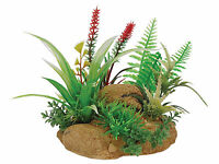 Plant with Rock Base Terrarium Vivarium Ornament Decoration