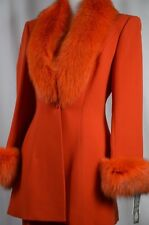 NEW Claude Rap Paris Women's Skirt Suit Wool Sz 38 Fur Trim Career France $4000