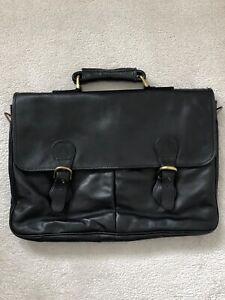 HIDESIGN Black Leather Briefcase/Satchel/Laptop Bag VGC