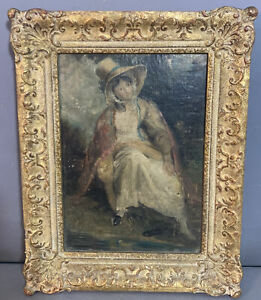 19thC Antique OUTDOOR PORTRAIT Young LADY & STRAW HAT Old PAINTING on WOOD PANEL