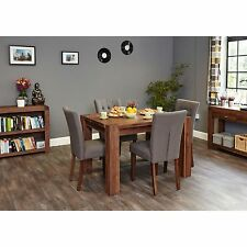 INCA Solid Walnut Dark Wood Furniture Dining Table and Four Chairs Set