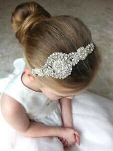 BRIDESMAID FLOWER GIRL HOLY COMMUNION HEADBAND HAIR ACCESSORY PEARLS RHINESTONE