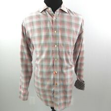 Thomas Dean Gingham Flip Cuff Shirt Mens XL Pink Gray Multi Color Check Print