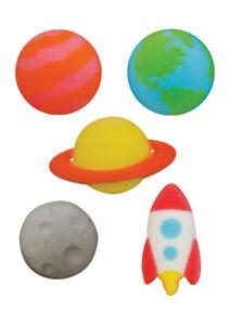 Astronomy Sugar Top Decor - Mars, Earth, Moon, Saturn, Space Ship, 10 pk