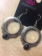 Paparazzi NATURAL SPRINGS Silver Earrings BLACK STONES SOUTHWEST-New