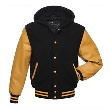 Black Yellow Varsity Letterman College Hoodie Jacket Wool With Real Leather