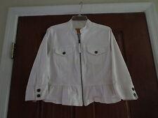 Ruby rox white cropped jean jacket denim zipper front ruffle hemline casual