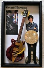 Beatles George Harrison Owned and Worn Clothing in Miniature Guitar Shadowbox