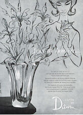 PUBLICITE ADVERTISING   1960   DAUM  CRISTAL  vase JEUX DE LUMIERE