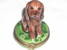 Gr Limoges Brown Cocker Spaniel Puppy Dog Sitting on Round Trinket Box