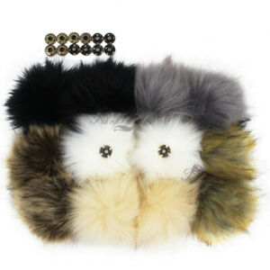 """11CM 4.3"""" Pack of 12 Faux Fox Fur Pompom Ball for Knitted Hat Snap Press Button"""
