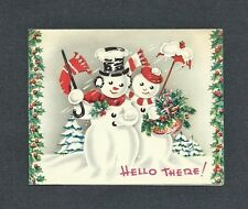 '40s-50s Snow Couple, Snow Covered Top Hat, Umbrella, Trees Vtg. Christmas Card