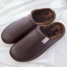 Fancy Slippers Waterproof Plush Velvet Leather Cozy Cotton Indoor Shoes Non Slip