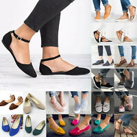 Women Low Flat Pump Ballet Ballerina Dolly Espadrilles Ankle Strap Slip On Shoes