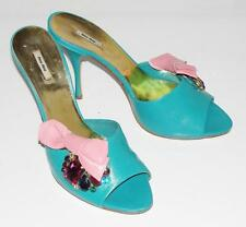 miu miu~MULTI-COLOR STUDS *PINK LEATHER BOW* SLIDE SANDALS HEELS SHOES~39 (RARE)
