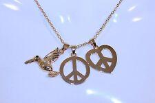 Kette NEU kurz Halskette Bronze Peace Love Taube vogel Herz frieden symbol