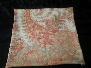 "Pottery Barn Throw Pillow Cover 20"" x 20"" Paisley Floral Orange Cream Zipper"