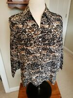 Donnkenny Blouse Sz. L Petite Button front Brown Tan Multi 3/4 Sleeve