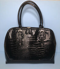 Black Crocodile Embossed Tote/Carry-All Bag Double Handle Zips & Pockets