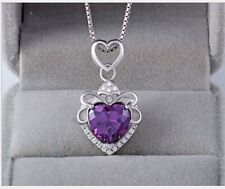 "Sterling Silver Heart Flower Purple Amethyst CZ Pendant Necklace 18"" Chain Gift"