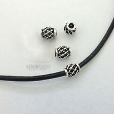 4 PC Antiqued Solid Sterling Silver Web Barrel Bead Spacer 6mm x 7mm #33085-A