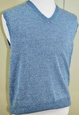 WinterSilks Mens Sweater Vest - Blue Marled Heather - 100% Silk - Size M/L