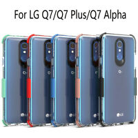 For LG Q7 /Q7 Plus/Alpha Shockproof Hybrid Clear Silicone Rubber Hard Case Cover